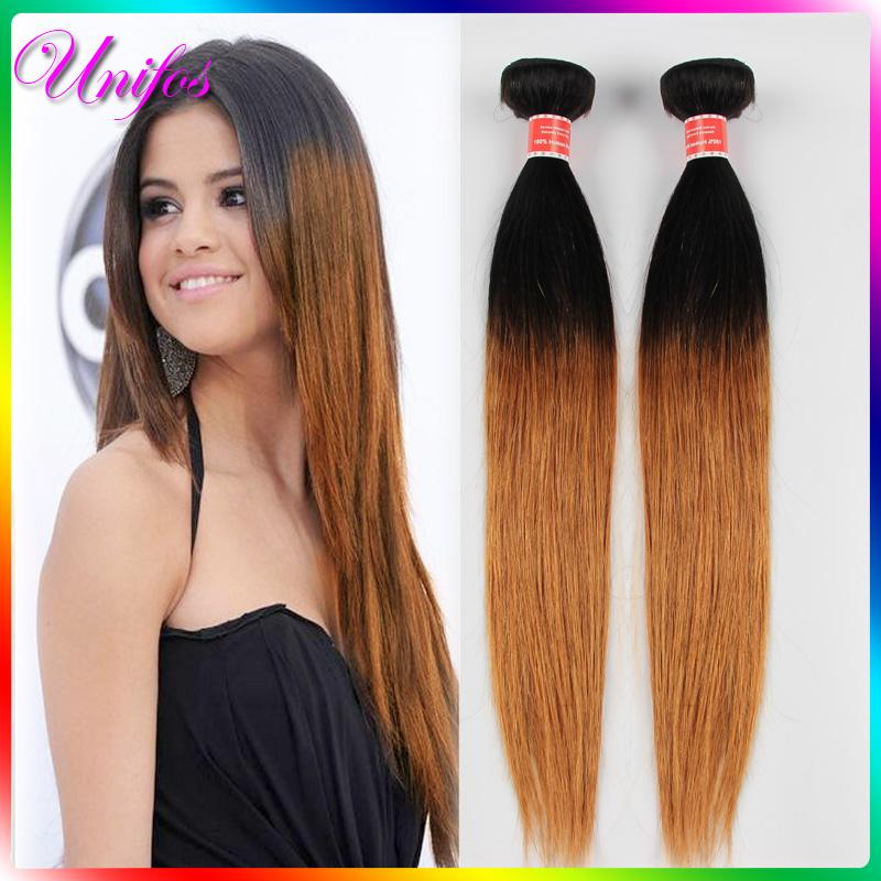 Honey Blonde Highlight Dark Brown Two Colors Balayage Ombre hair ...