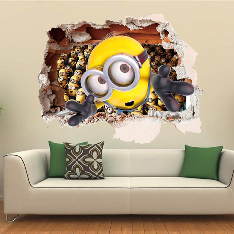 2016 New Design Cartoon Despicable Me 2 Minion 3D Wall Stickers