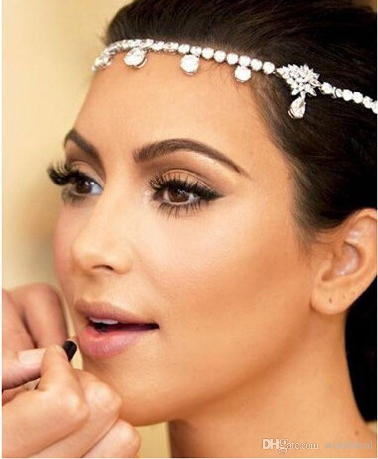 forehead fashion double use design cristal hairband collier de marie mesdames bijoux chapeaux de soire de - Bijoux De Tete Mariage Oriental