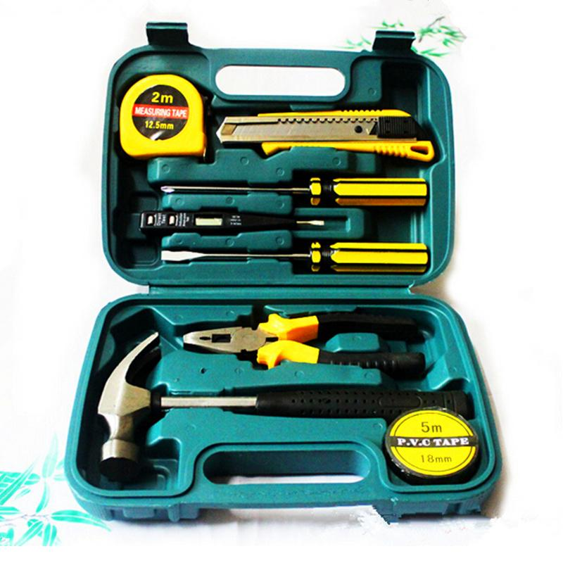9 In 1 Practical Gift Hand Tools Kit Hammer Screwdrivers Wrenches Etc Household Combination Toolbox Car Hardware Tools