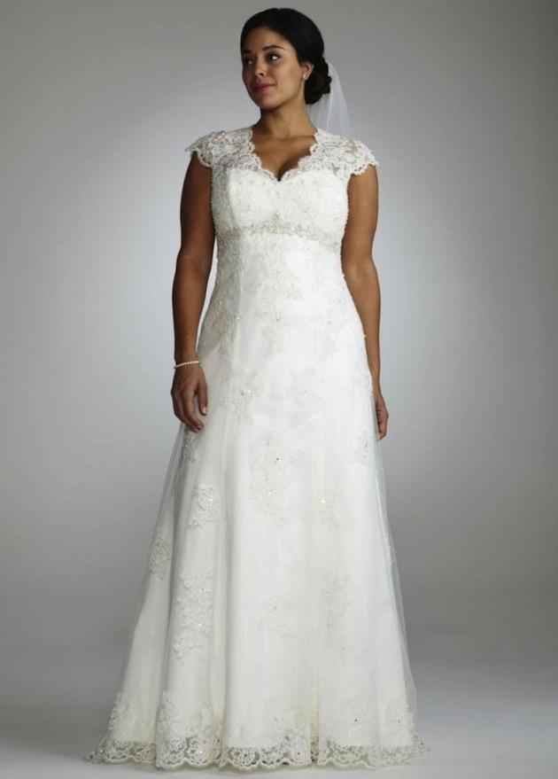 Discount 2015 plus size wedding dresses a line empire for Empire waist plus size wedding dress