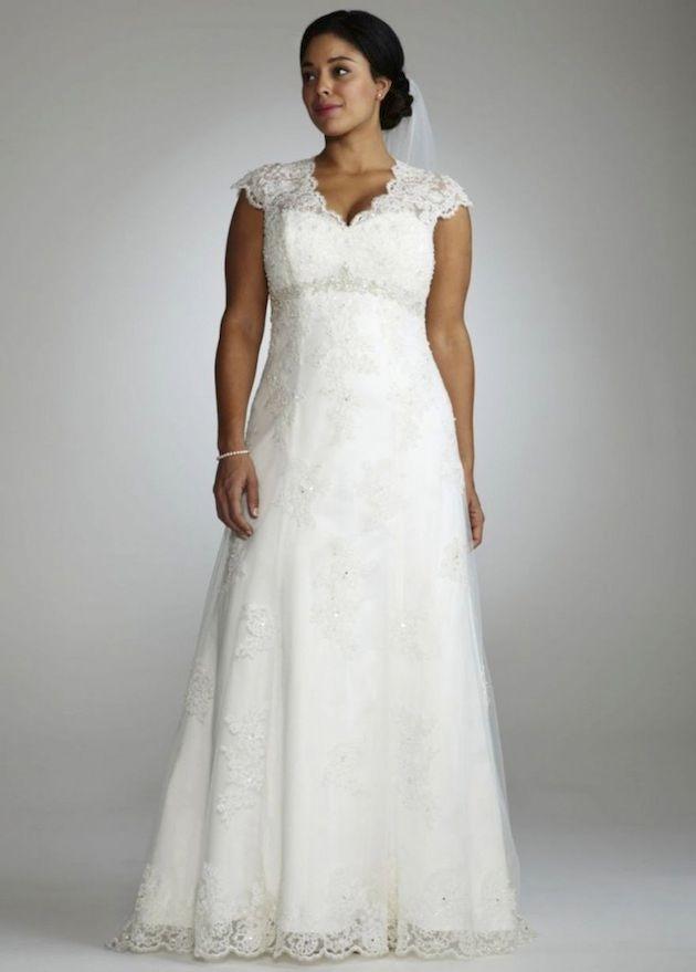 Discount 2015 plus size wedding dresses a line empire for Plus size empire wedding dress