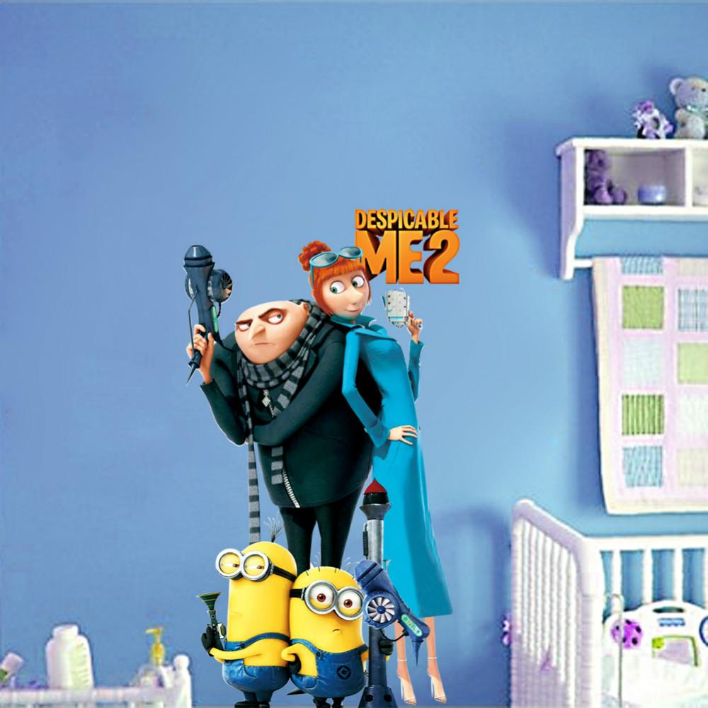 Despicable me 2 Minions And Gru Wall Stickers For Kids Rooms Decorative  Adhesive Removable PVC Wall