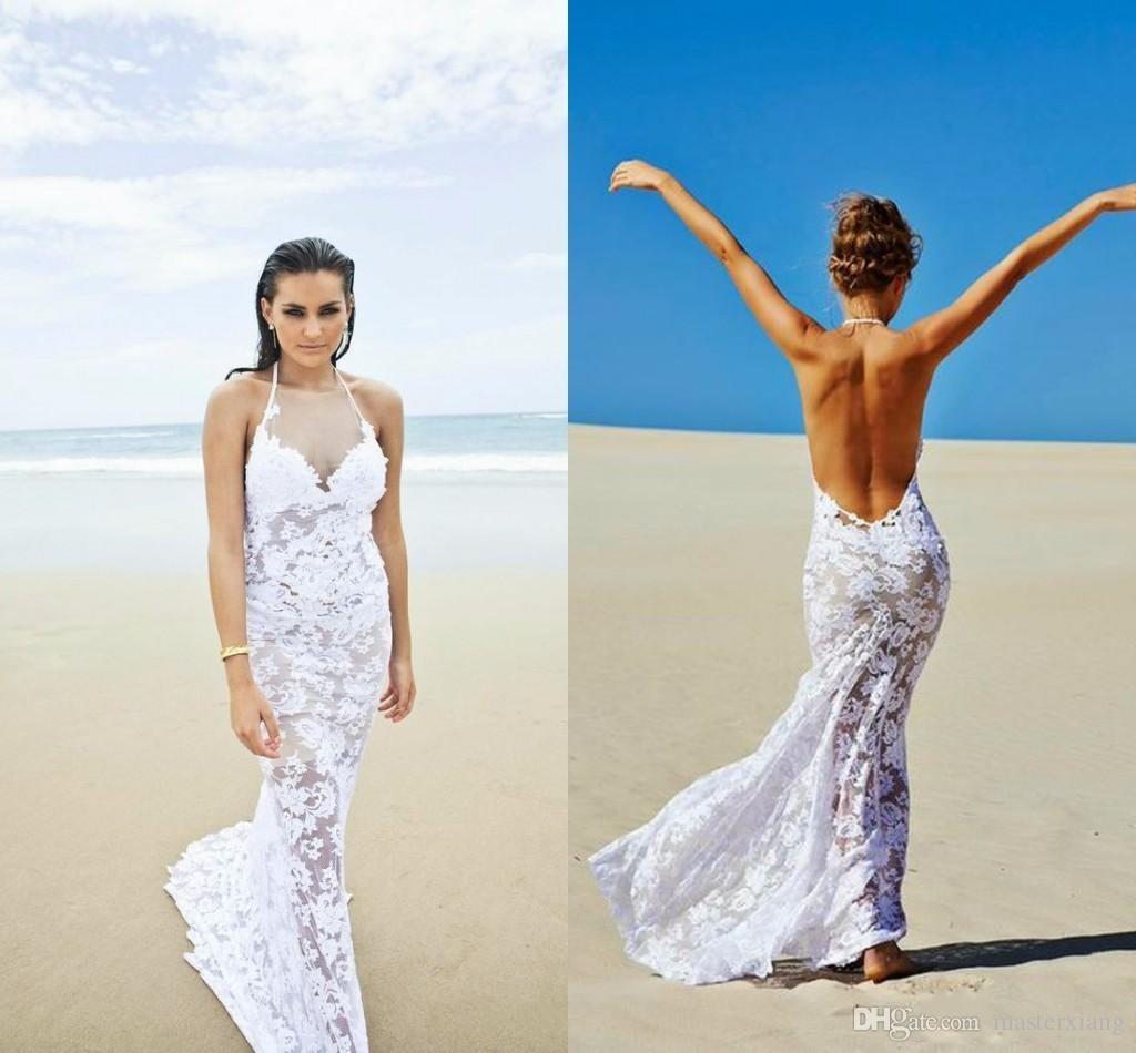 2015 y Backless Beach Wedding Dresses Spring Galia