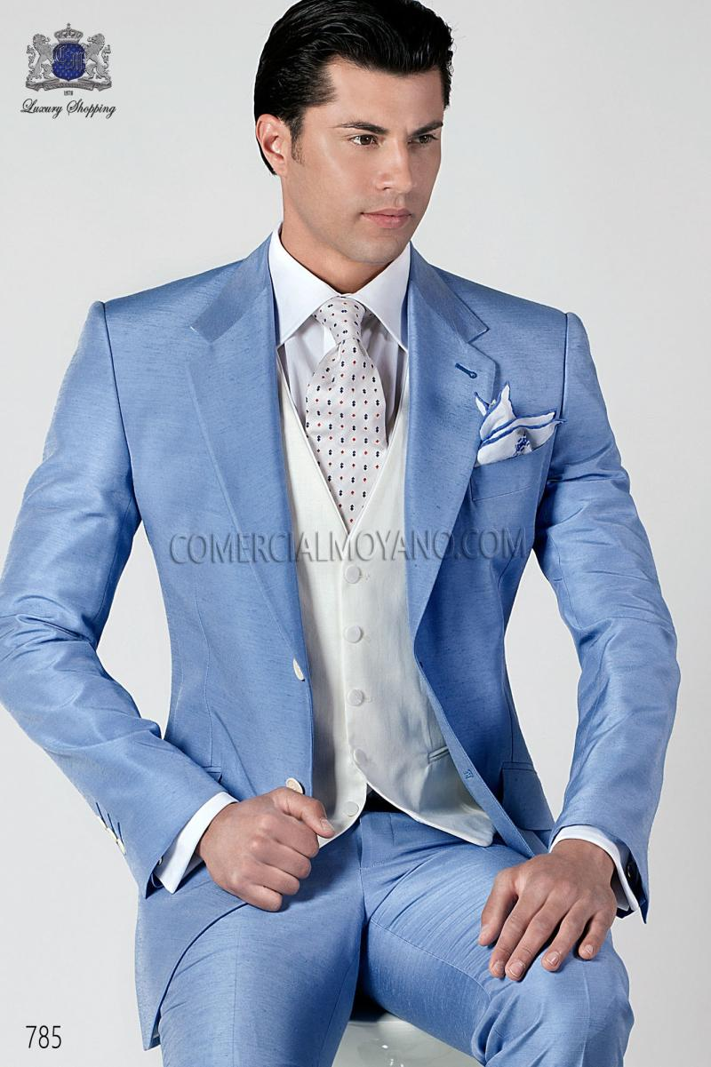 2015 New Arrival Light Sky Blue Mens Suits Jacket Pants Tie Vest ...