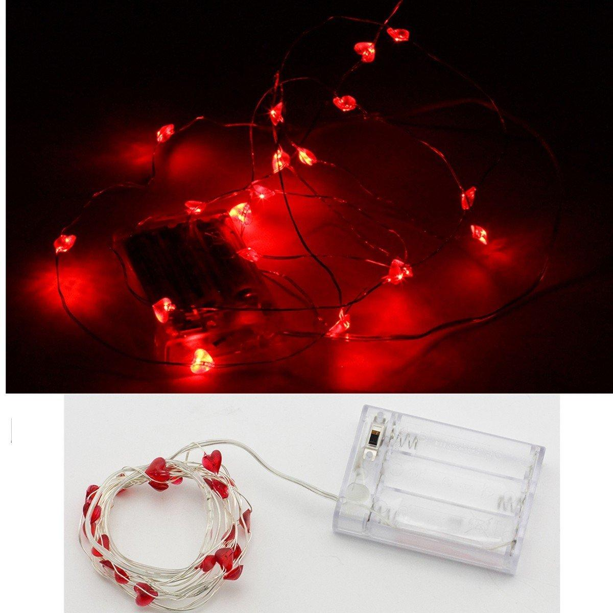2m 20 Led Submersible Wire Heart Shaped String Lights Battery Fairy Lights Wedding Decoration ...