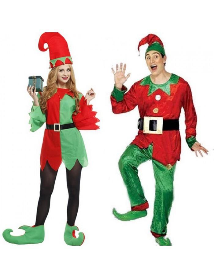 Adult men women christmas elf cosplay costumes dress