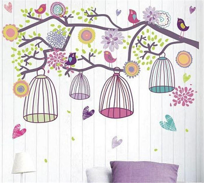 Colorful Bird Cage Flower Tree Family Stickers Deco Art Wall Sticker Wall Decorations Living Room Wall Papers Home Decor Kids Removable Wall Stickers Kids