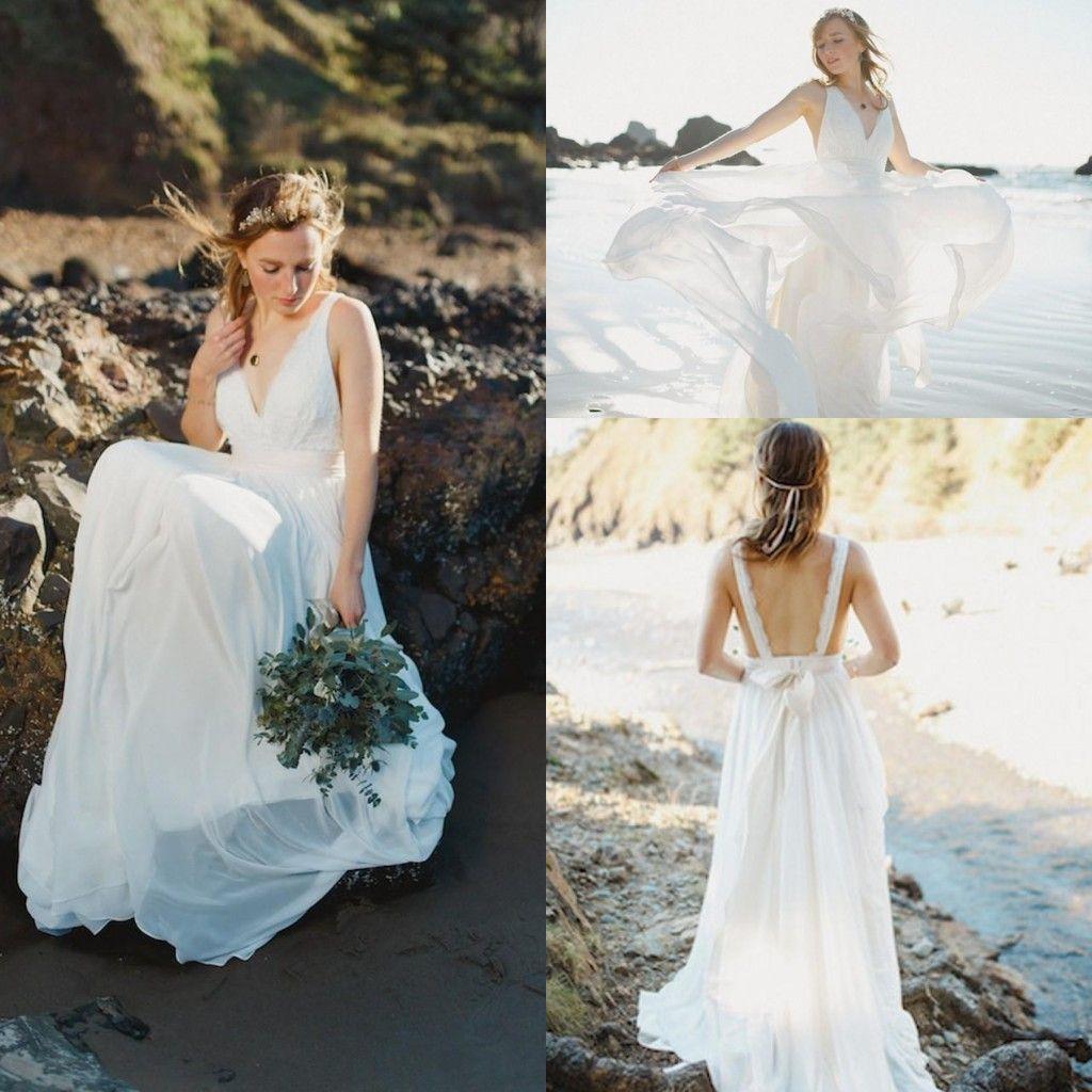 Discount 2015 Bohemia Beach Wedding Dresses Lace Bodice
