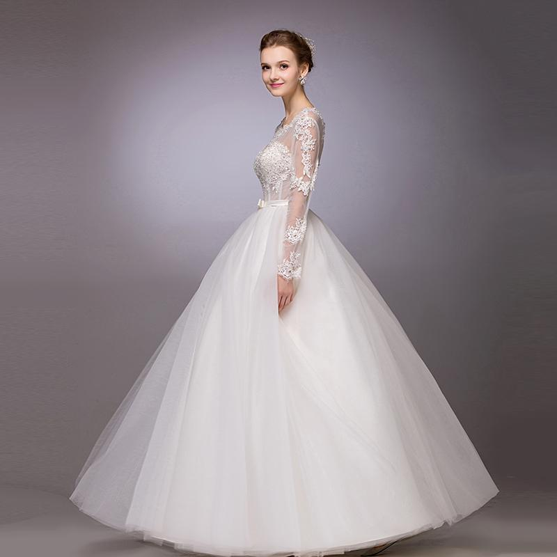 Long sleeves wedding dresses beach ball gowns scoop floor for Wedding dresses under 150 dollars