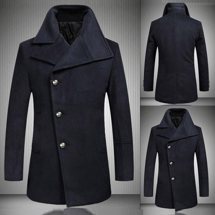 2017 Oblique Collar Men Wool Coats 2015 New Arrival Classic