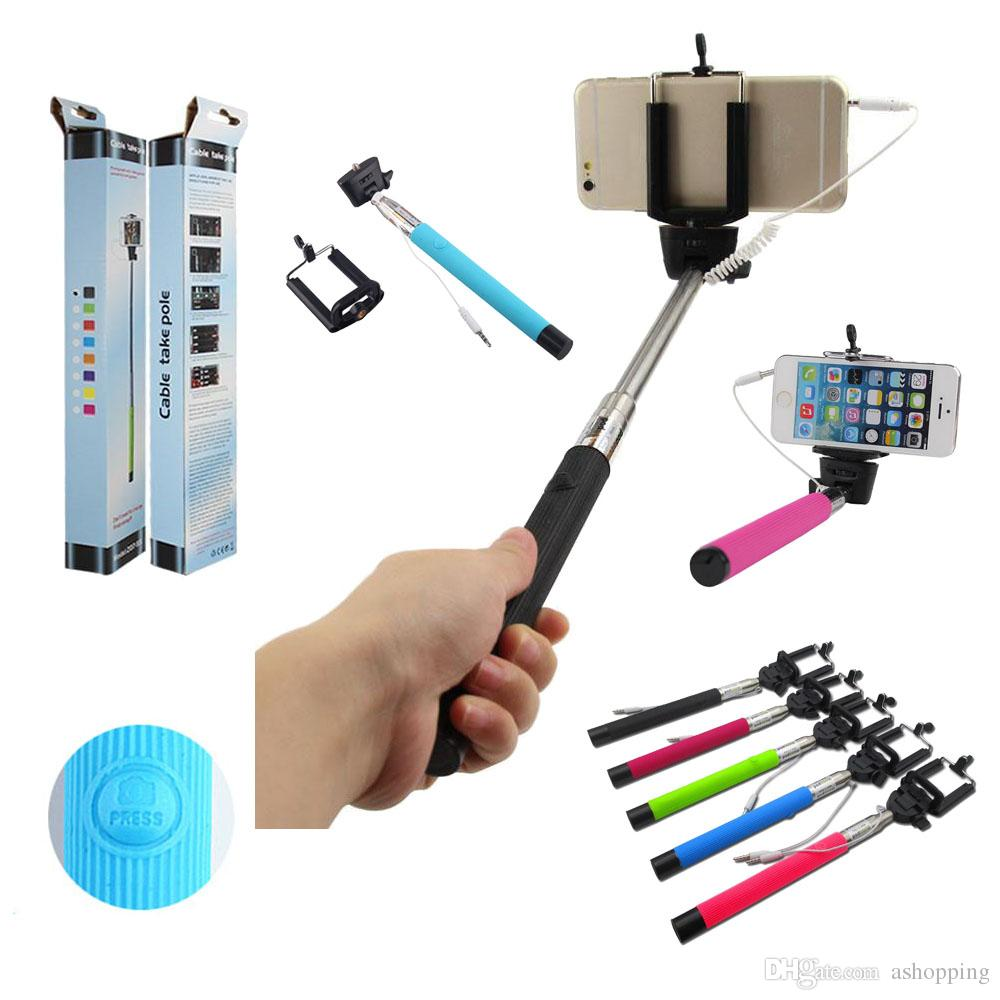 new z07 5s extendable handheld selfie stick self timer wired control monopod tripod cell phone. Black Bedroom Furniture Sets. Home Design Ideas