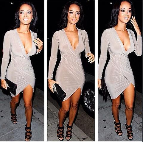 Sexy Club Dresses for Women 2015 New Fashion Full Sleeve Low Cut ...