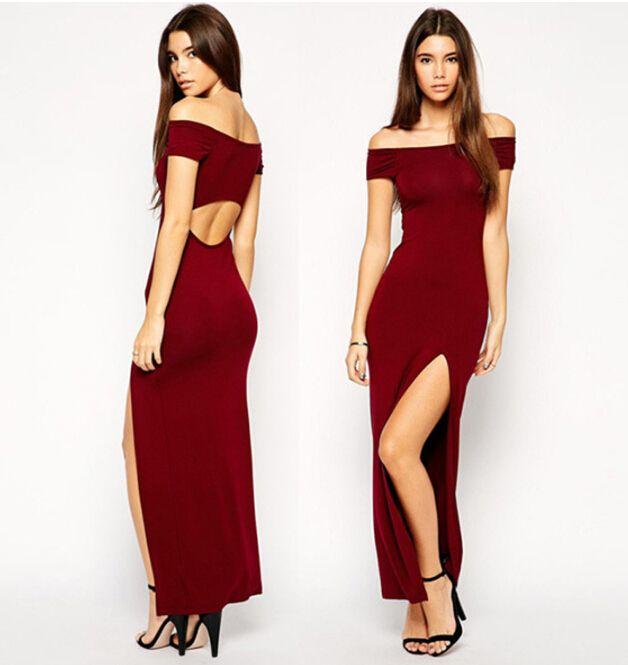 New Women Sexy Split Tight Dress,Long Sexy Women Party Dress ...