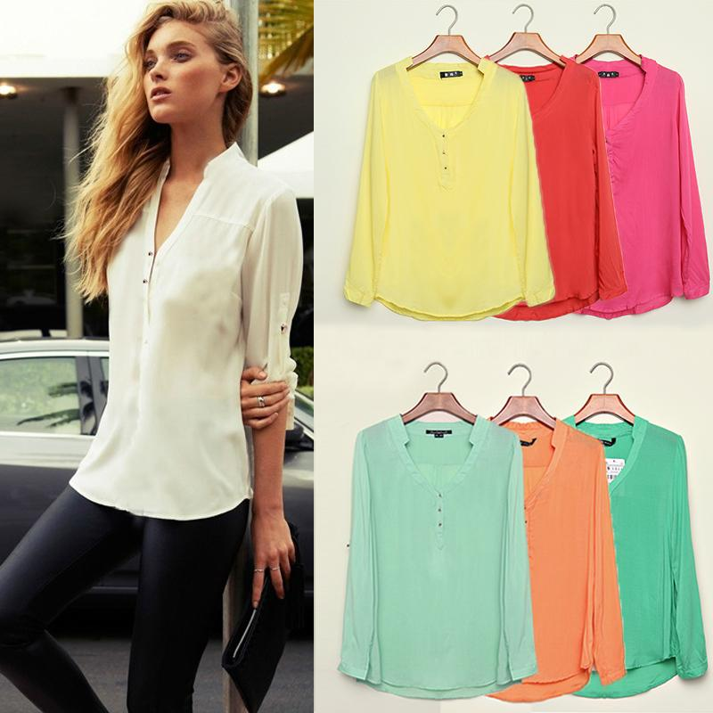 2017 2015 Women Casual Shirts Spring Summer Long Sleeve V Neck ...