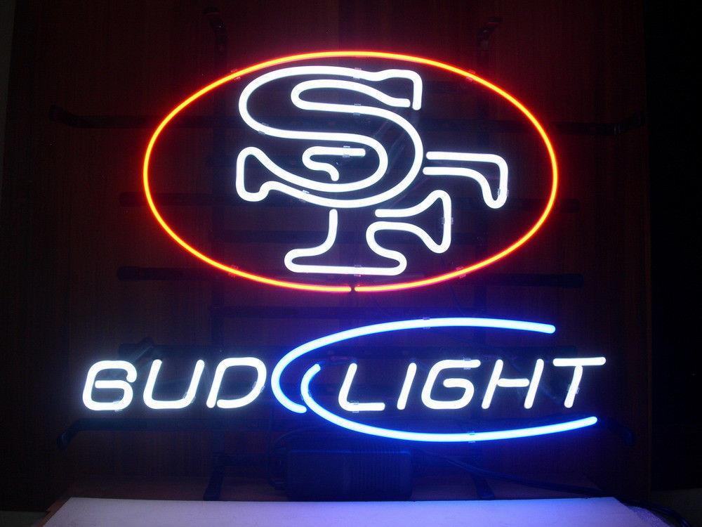 New Bud Light S F Neon Light Beer Bar Sign Clear Glass