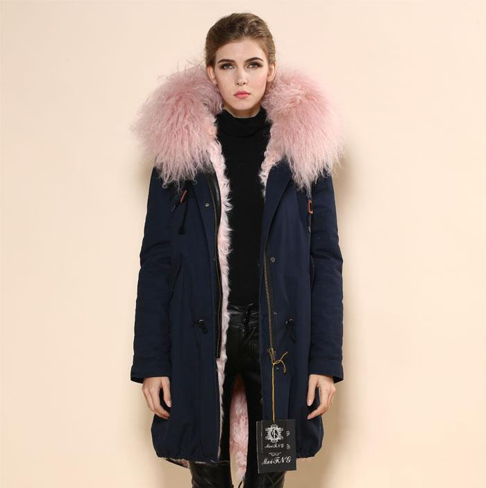 Lady's Fashion Lamb Fur Long Coat With Lamb Fur Collar Women's