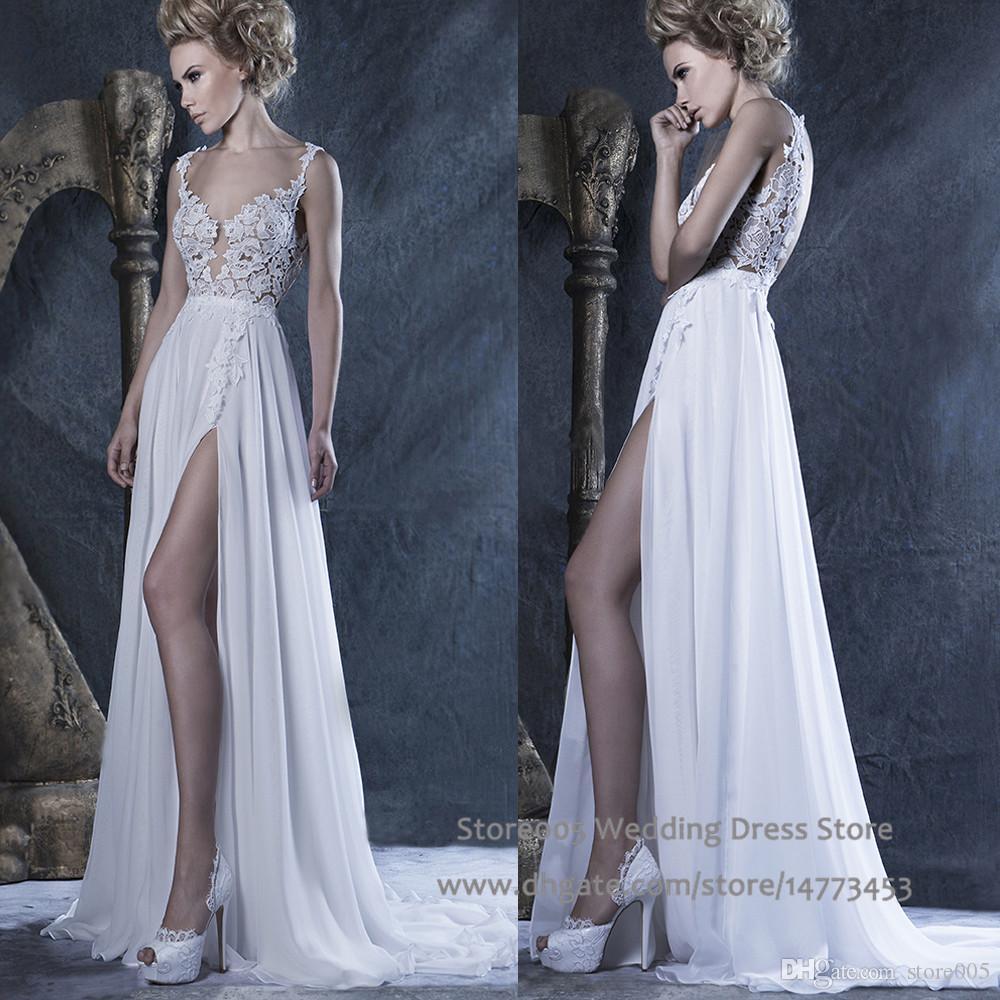Discount bohemian boho wedding dresses side slit 2016 sexy for Dhgate wedding dresses 2016