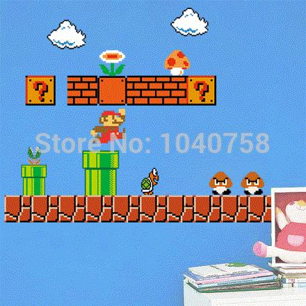 Home Decor Wall Sticker Removable Super Mario Bros Wall Stickers Pixel Art  Grid Cartoon Wall Decals For Kids Baby Rooms Home Decoration Decal Paper  For ...