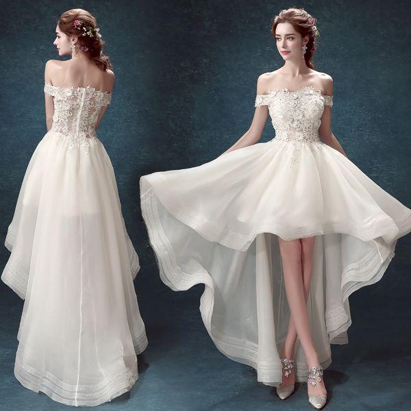 2015 knee length wedding dresses high low short beach off for Knee high wedding dresses