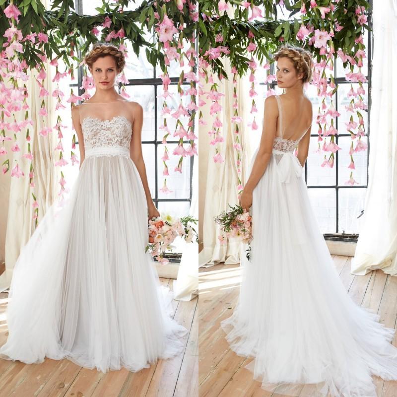 Watters 2017 Sheer Bohemian Wedding Dresses Bateau Neck Sleeveless
