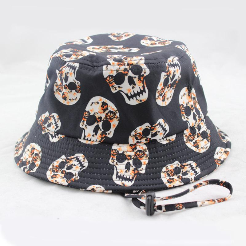 Skull Print Black Fishing Bucket Hats