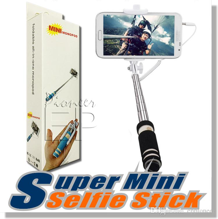 NEW Foldable Super Mini Wired Selfie Stick Handheld Extendable Monopod -Built in Bluetooth Shutter Non-slip Handle Compatible with phone