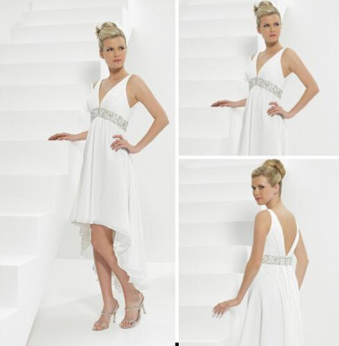 sexy chiffon beach wedding dresses deep v neck high low asymmetrical beaded sequins informal. Black Bedroom Furniture Sets. Home Design Ideas