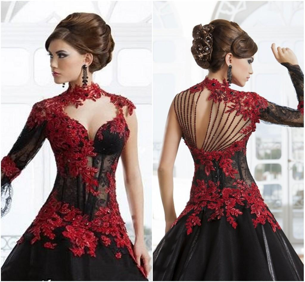 Black And Red Lace Wedding Dresses Ball Gown Stand Up High