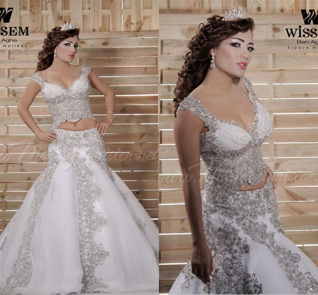 Vintage mermaid wedding dresses v neck off the shoulder for Wedding dress sparkly top