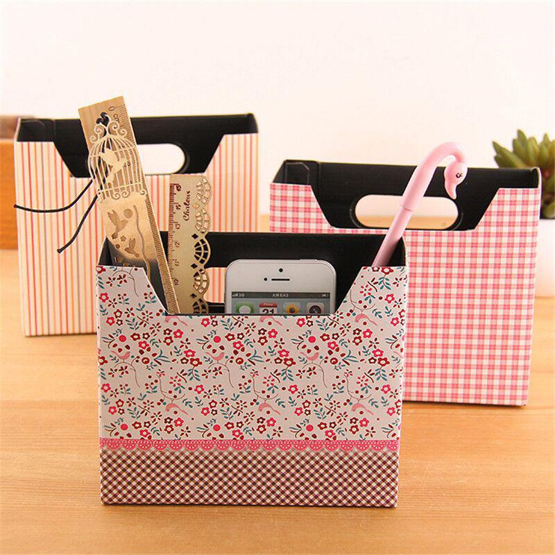 2017 diy flower cosmetic small makeup case stationery for Diy desk decor ideas