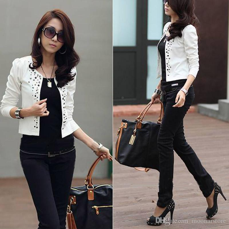 2015 New Style Women'S Black Suit Jacket Rhinestone Rivet Puff ...