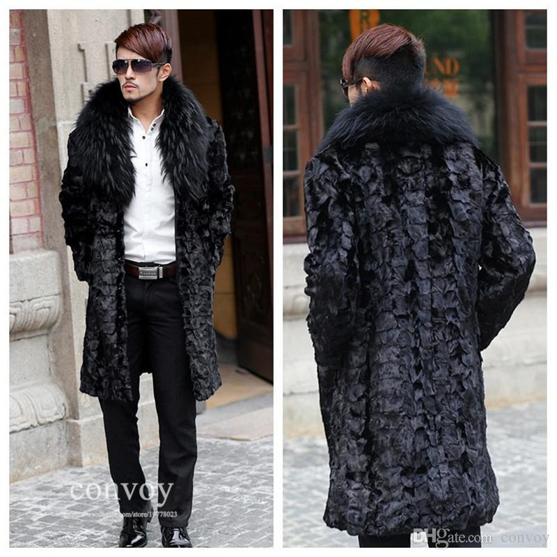 Mens Long Sleeve Faux Fur Coat Lapel Neck Long Hair Thick Warm ...