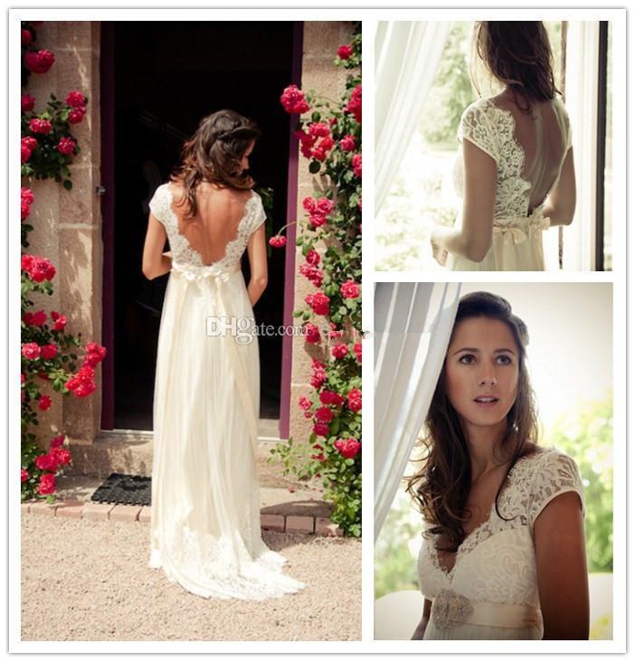 Discount wholesale buy bohemia wedding dresses v neck cap for Bohemian style wedding dresses for sale