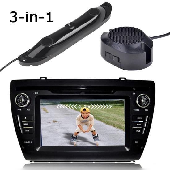 Car dvr 3 in 1 camera control box 2 parking sensor for 1 1 2 box auto