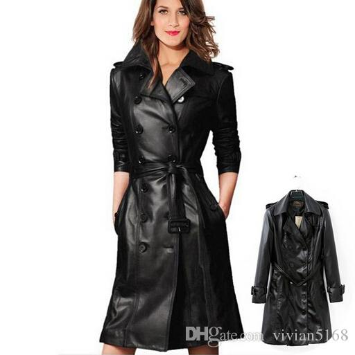 Women Leather Coat Trench Coat Women's Black Outerwear Coats,Slim Sexy Trench Coats,Large Size Ladies' Leather Overcoat Online with $57.6/Piece on