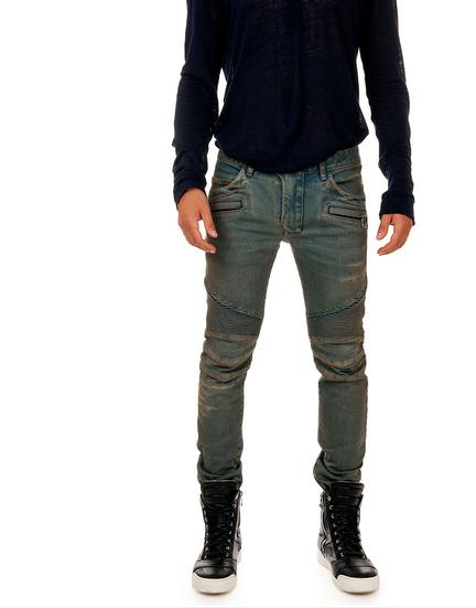 Mens Balmain Vintage Blue Skinny Biker Denim Jeans Pants Brand New ...