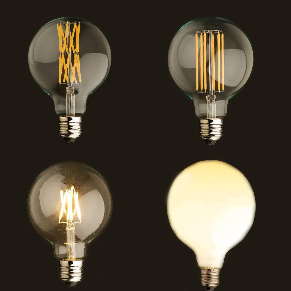 Vintage Led Filament Light Bulb Edison G125 Style Golden Tint Milk Frosted 6w 8w 16w 2200ksupper Warm 110v 220vac Dimmable Golden Tint Milk Decorative