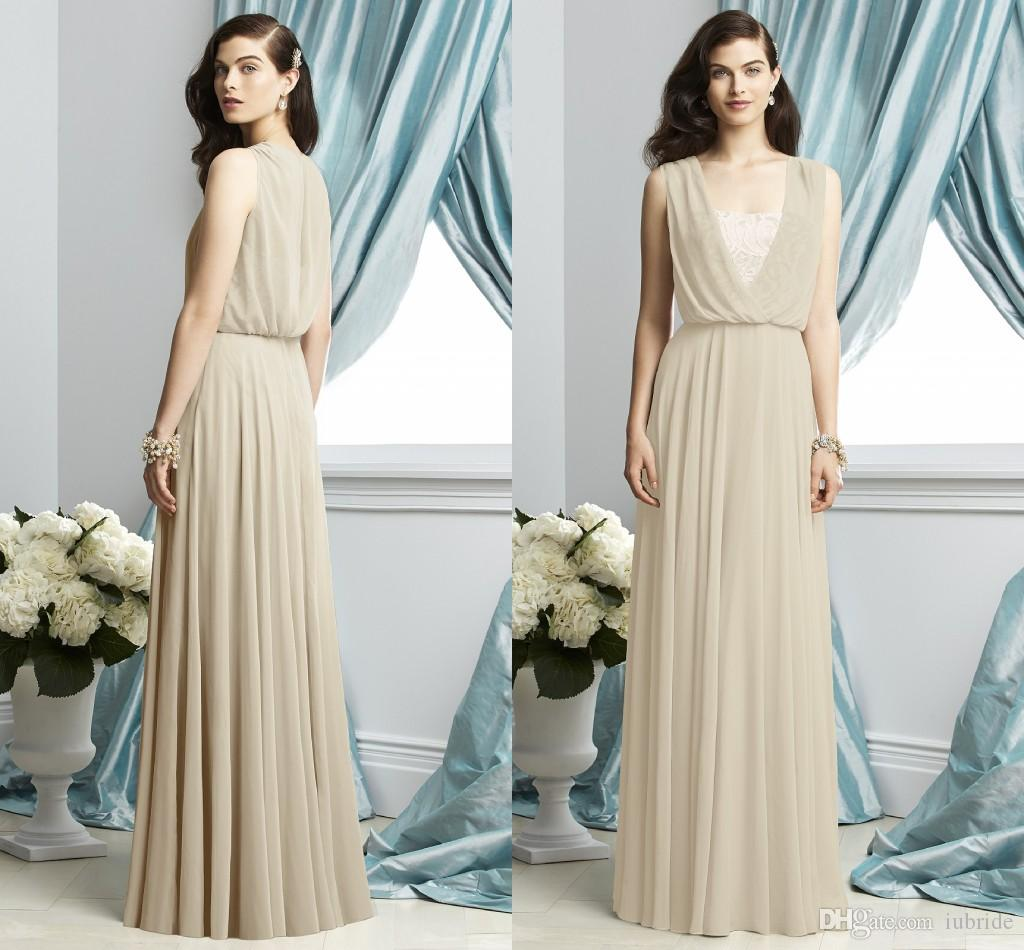 Beach boho chiffon long bridesmaid dresses 2015 junior for Boho dresses for wedding guests