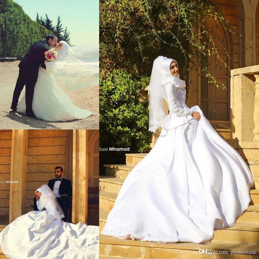 Islamic Wedding Dresses With Hijab 2017 : Discount pretty muslim wedding dresses modest arabic