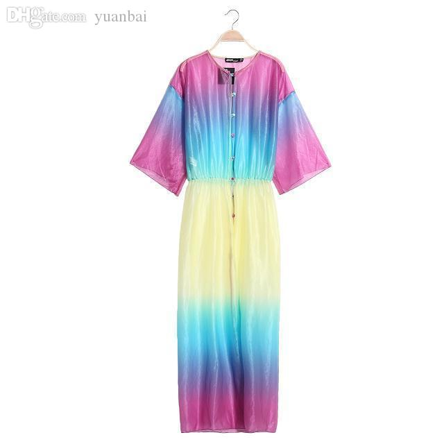 Wholesale-Free Shipping unif HARAJUKU laser gradient tie-dyeing rainbow colored design ultra long trench sun protection clothing shirt