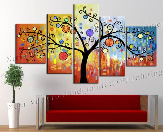 Canvas art hand painted canvas modern abstract money tree for Best glass painting designs