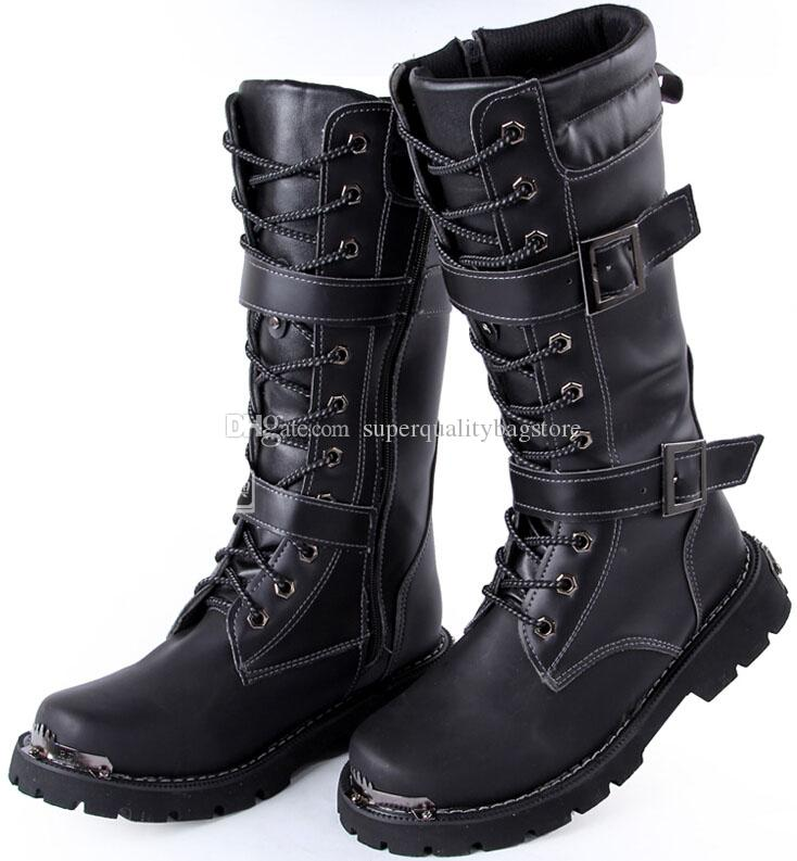 Black Combat Boots For Men - Cr Boot
