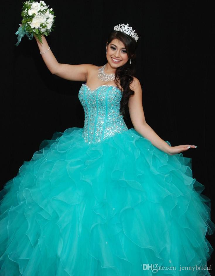 Real Images 2015 Rhinestone Sky Blue Quinceanera Dresses ...