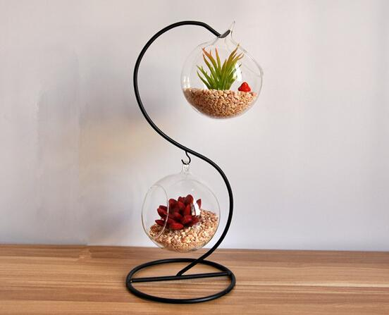 Wedding decoration creative double hanging glass vases for Home decor items online