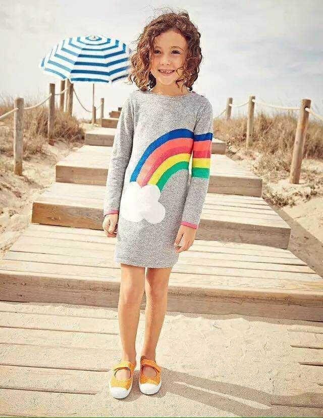 Girl sweater dress rainbow cloud knitted pullovers long for Mini boden winter 2016