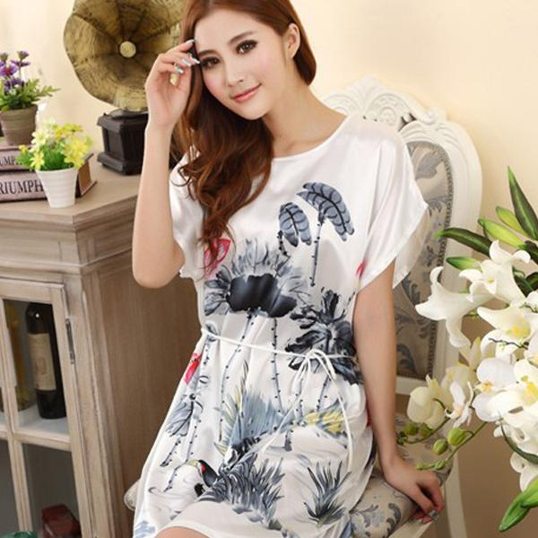 Womens Nightdress Pajamas Ladies Lingerie Rayon Sleepwear Robes Print Homewear