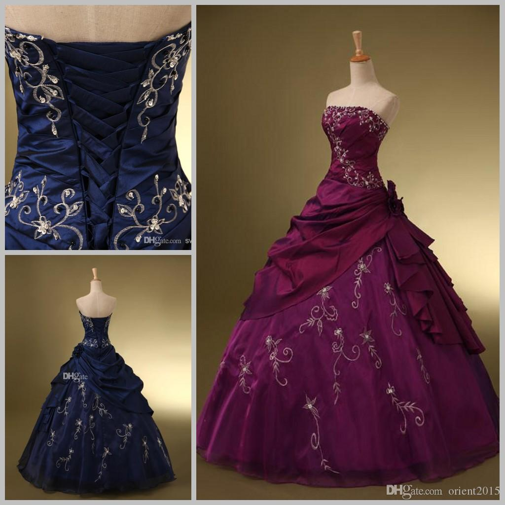 Fashion Strapless Ball Gown Embroidery Quinceanera Dresses For Us Size 2 16 Navy Blue 15 Years