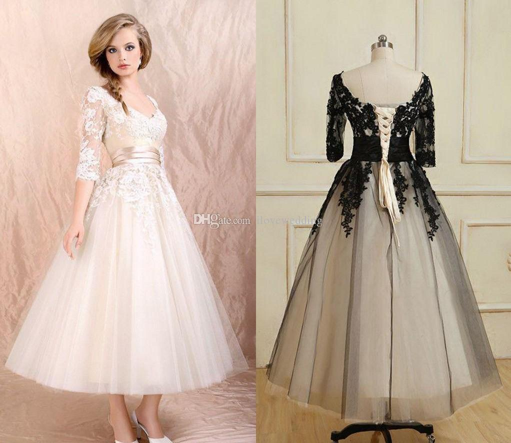 2015 Vintage Lace Ball Gown Wedding Dresses with Sleeves Scoop ...