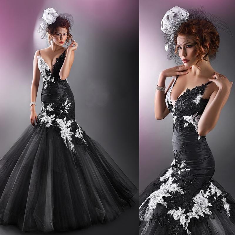 Custom gothic wedding dresses 2015 vintage v neck for Vintage gothic wedding dresses
